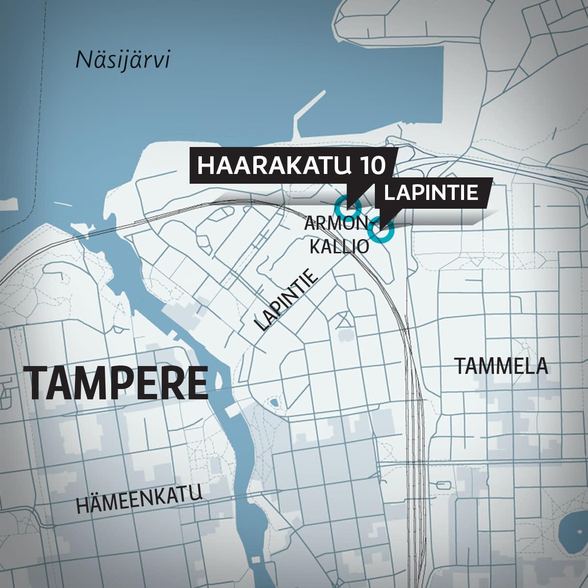Kartta Tampereen keskustasta