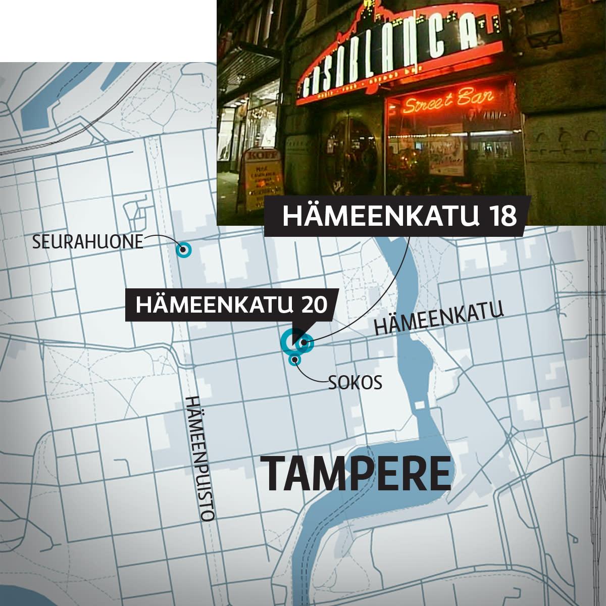 Kartta Tampereen keskustasta. Hämeenkatu 20
