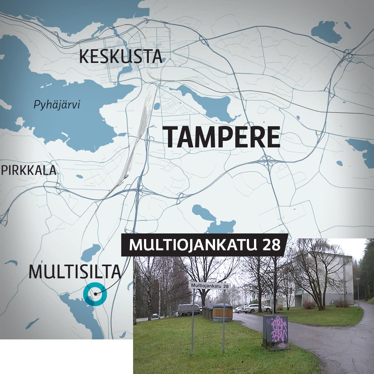 Kartta Tampereen Multisillasta