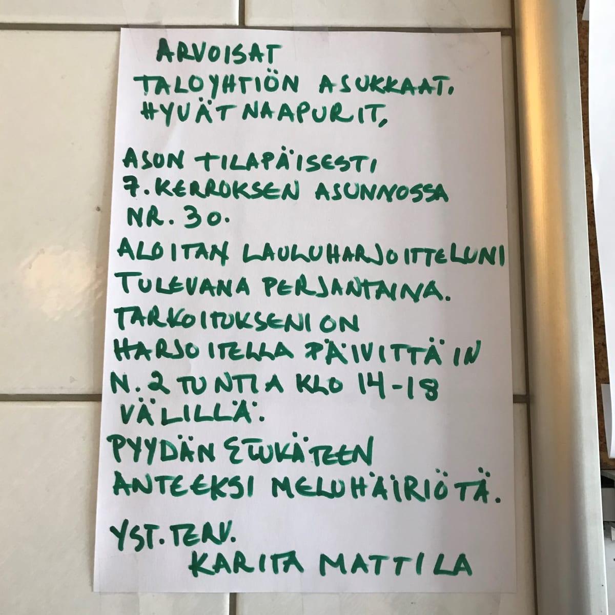 Seinällä oleva viesti