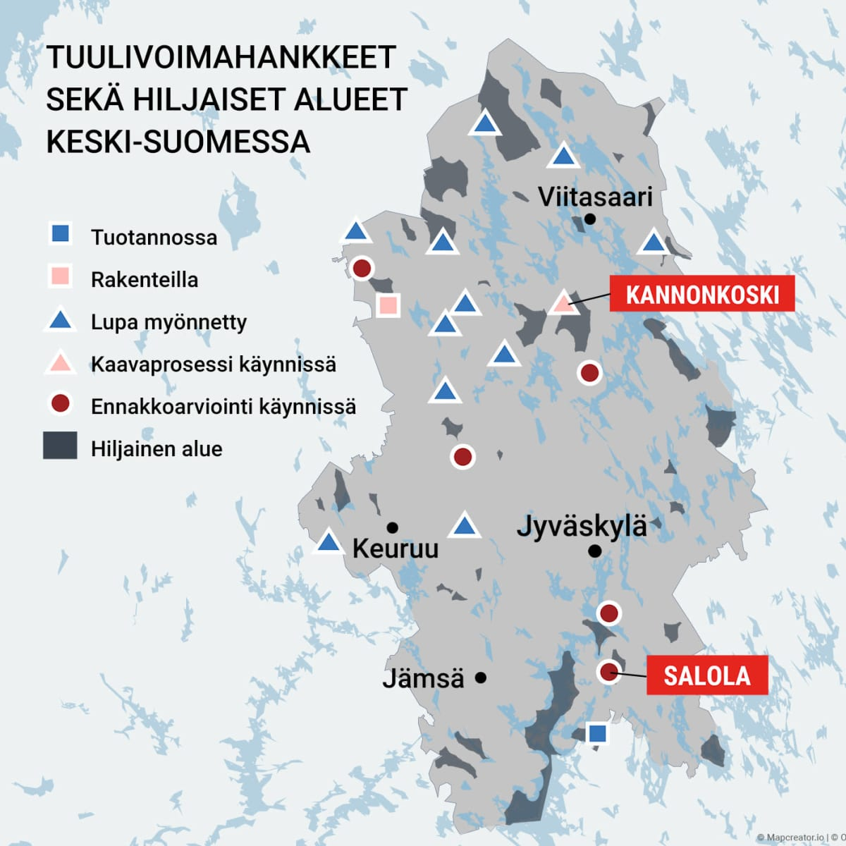 Tuulivoimahankkeet ja hiljaiset alueet Keski-Suomessa
