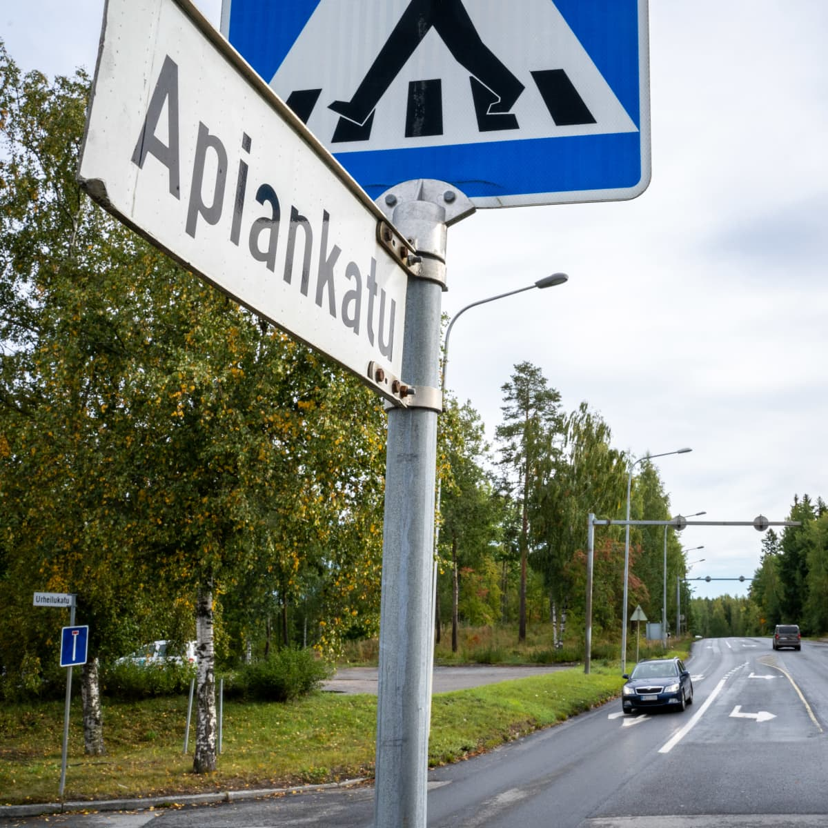 Apiankadun ja Urheilukadun risteys Valkeakoskella.
