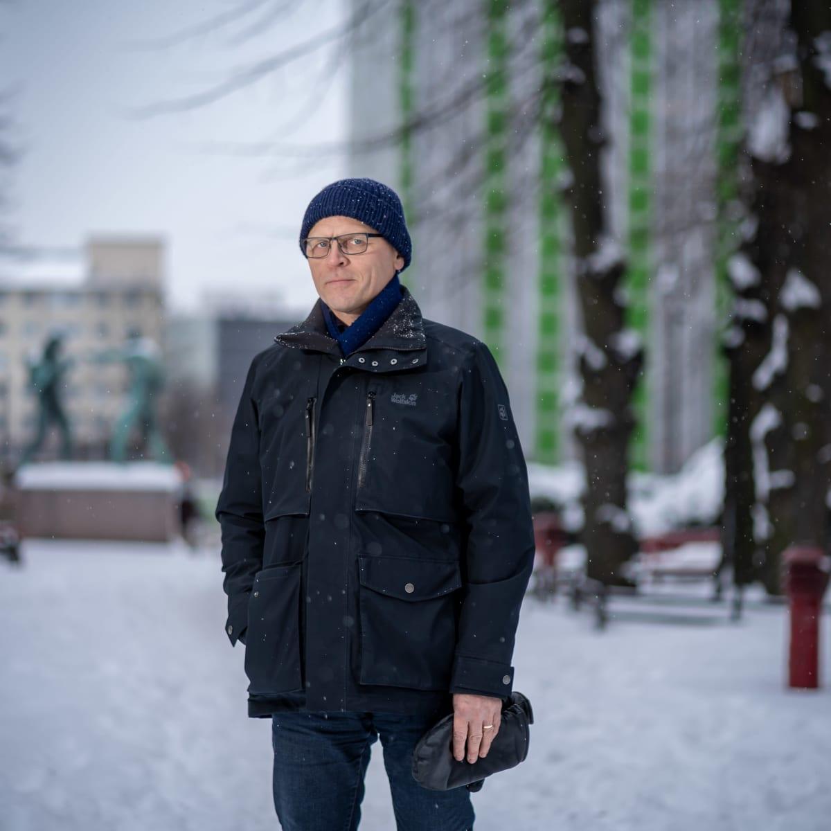 Rakennusliiton puheenjohtaja Matti Harjuniemi, Paasivuoren puistikko, Helsinki, 18.1.2021.