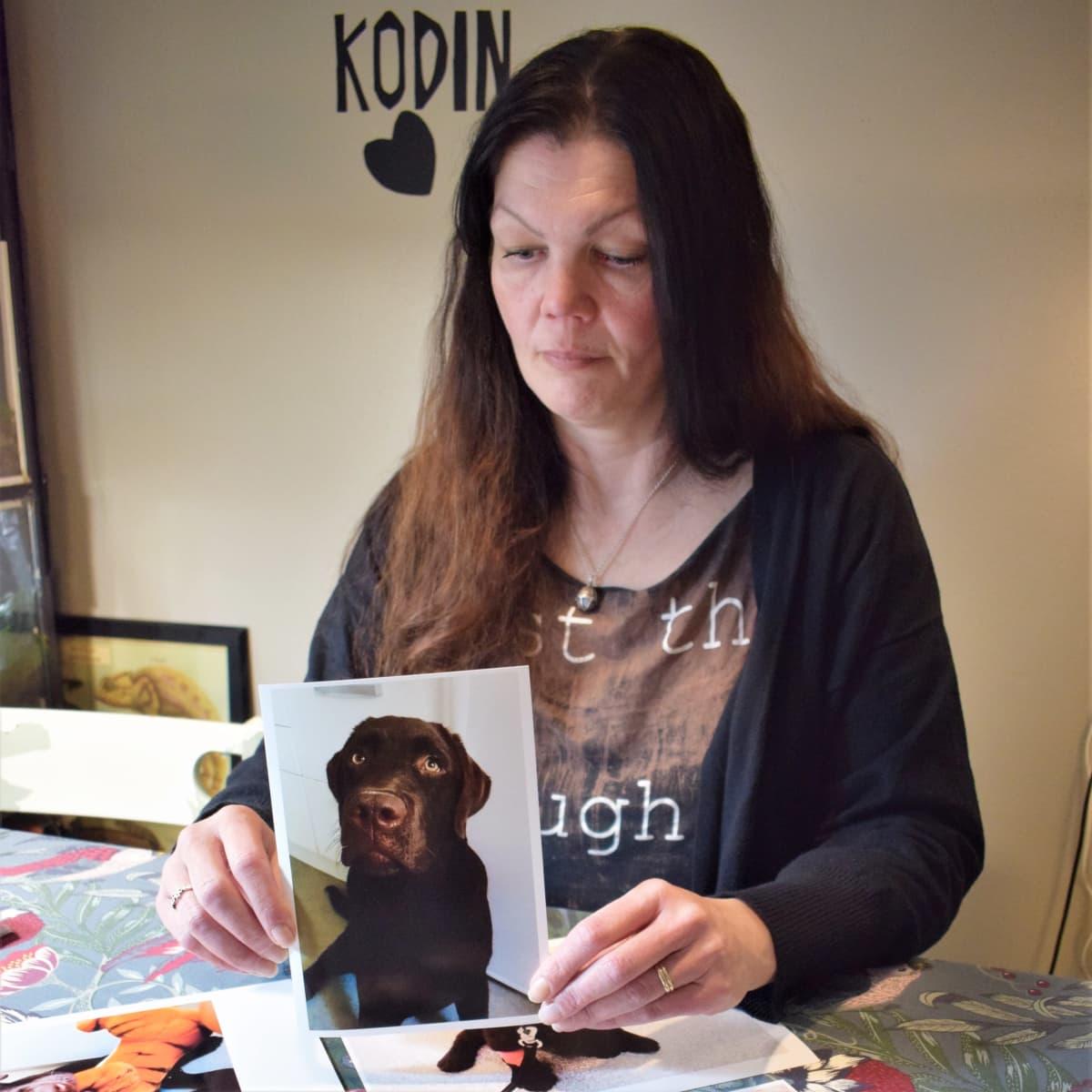 Sanna Uusitorppa esittelee valokuvaa Hannu-noutajastaan