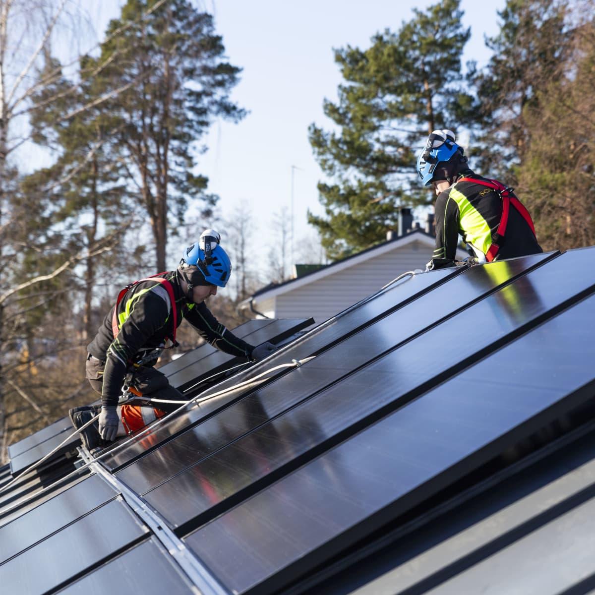 Solarvoima Oy:n asentajat Joni Särkinen ja Erik Aho asentavat  aurinkopaneeleja omakotitalon katolle.