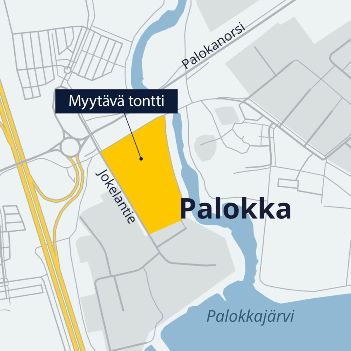 Karttakuvan keskellä näkyy keltaisena kahden hehtaarin tyhjä tontti Pappilanjoen varressa Palokassa.