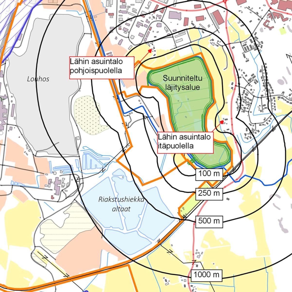 Ihalaisen kaivoksen koillisläjitysalueen kartta