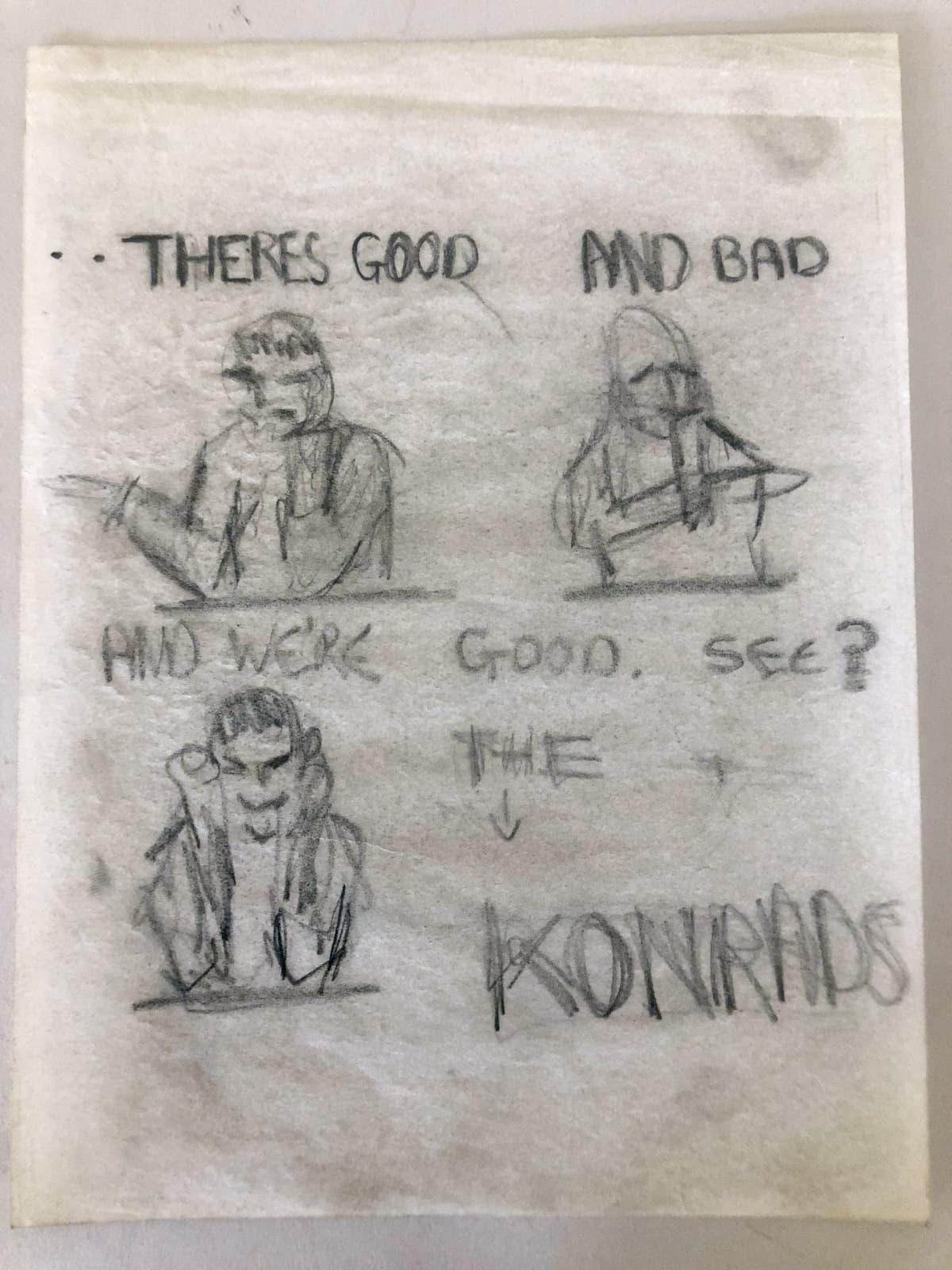 The Konrads -yhtyeen piirustuksia.