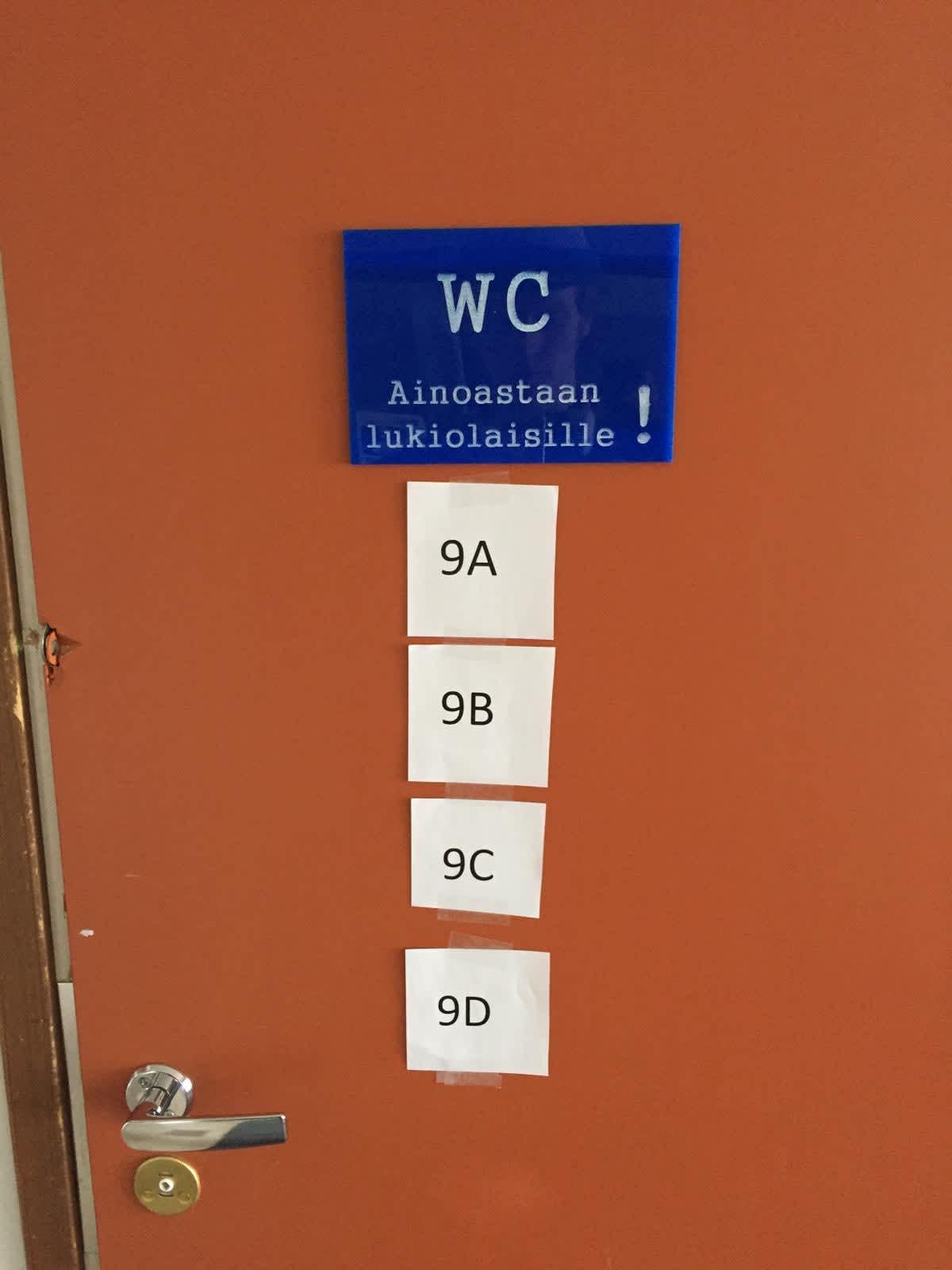 korona-aikojen wc-tilat koululla