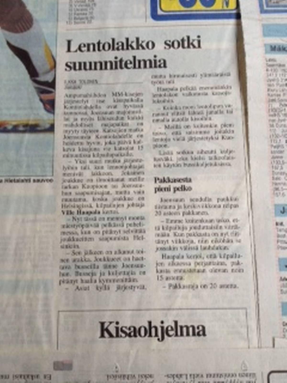 Sanomalehti Ilkan artikkeli 4.2.1999.