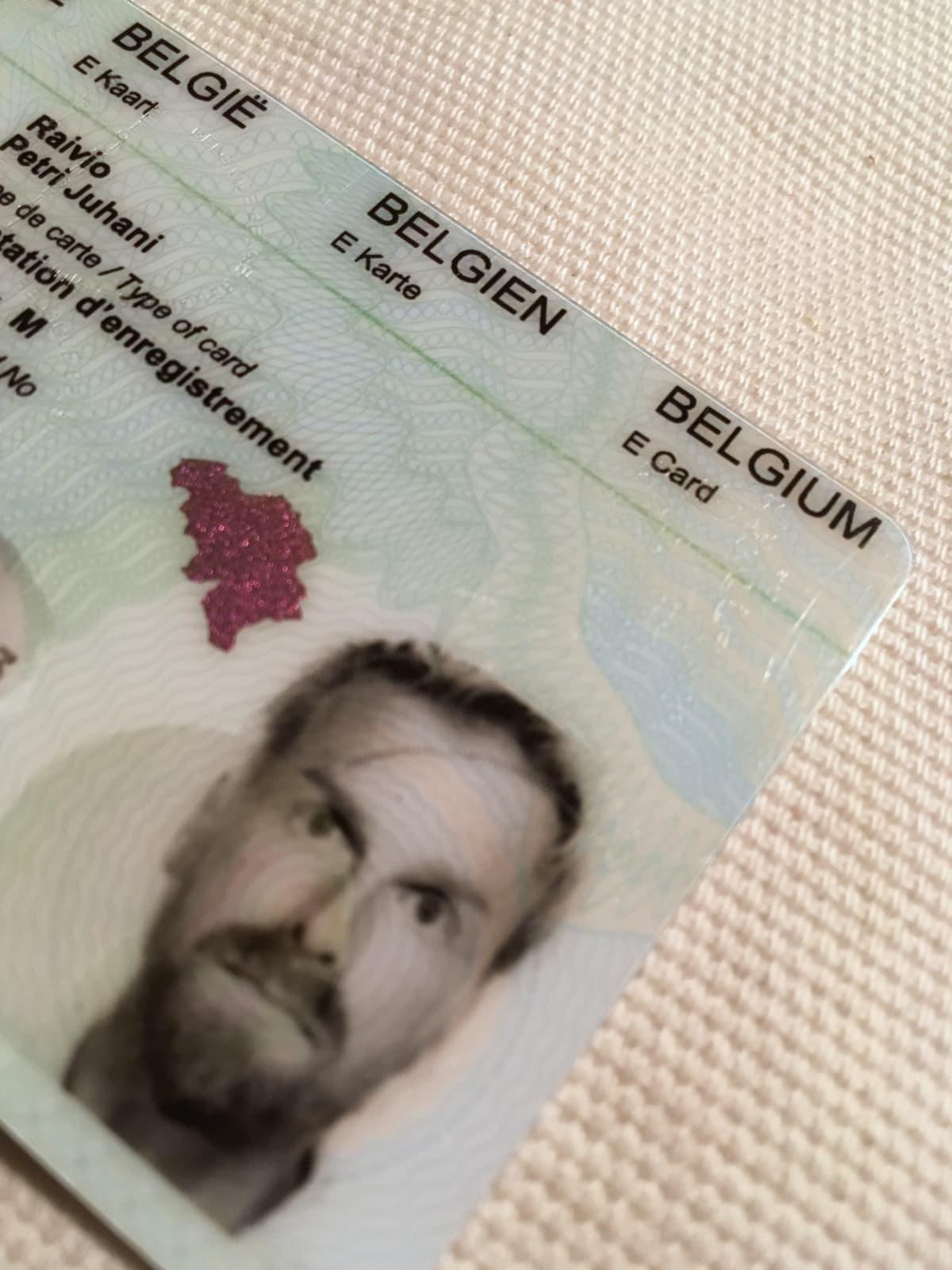 Belgialainen id-kortti.