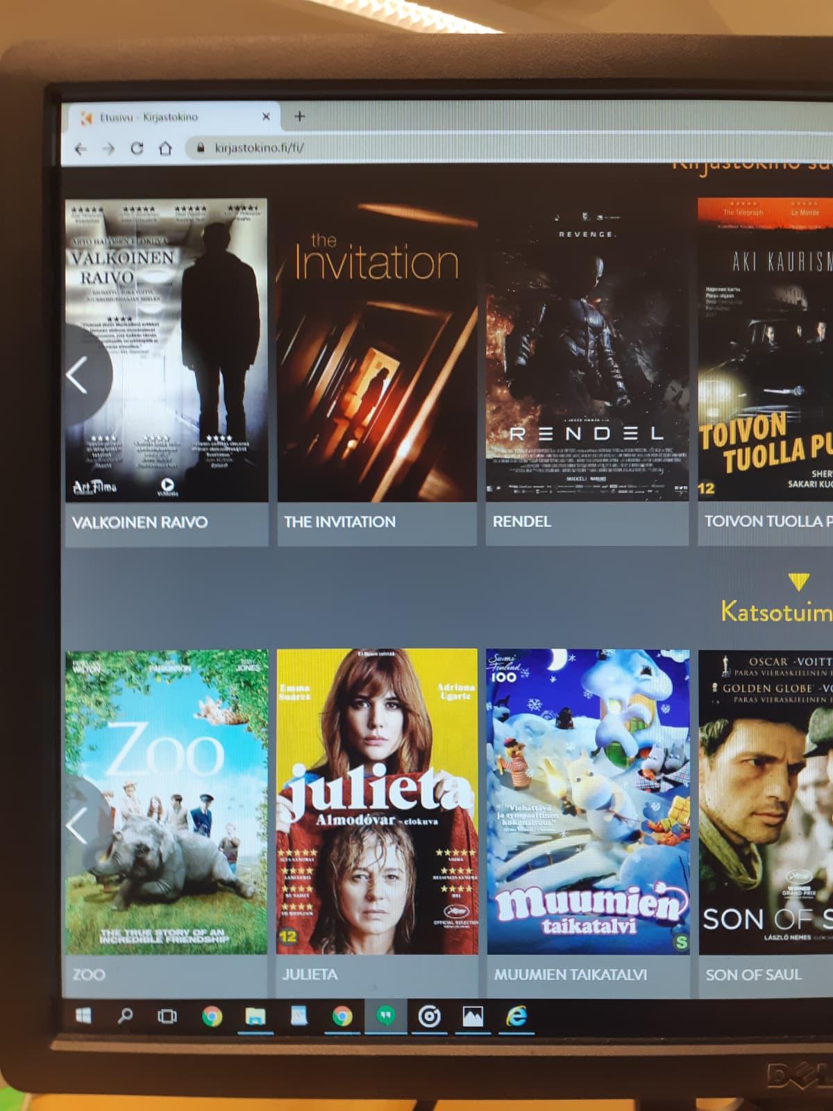 kuva kirjastokino-videopalvelusta