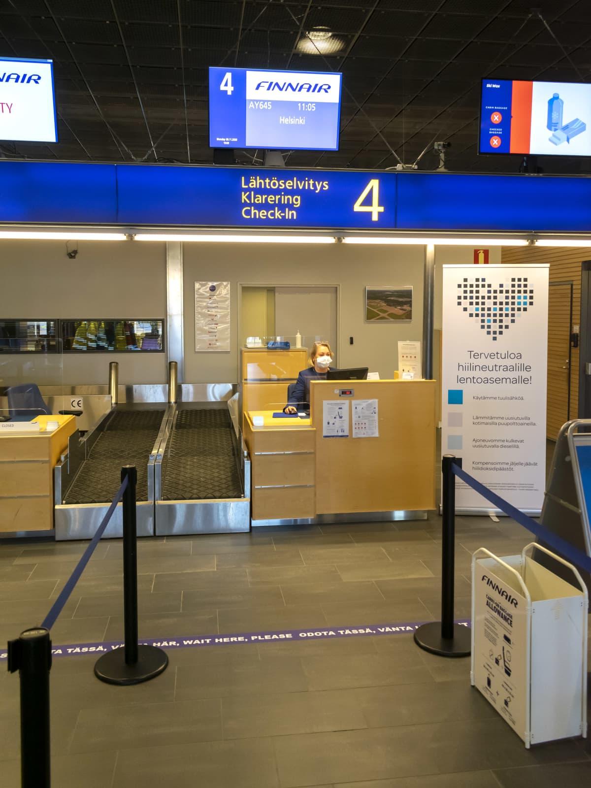 Lähtöselvitys Finnairin lennolle.