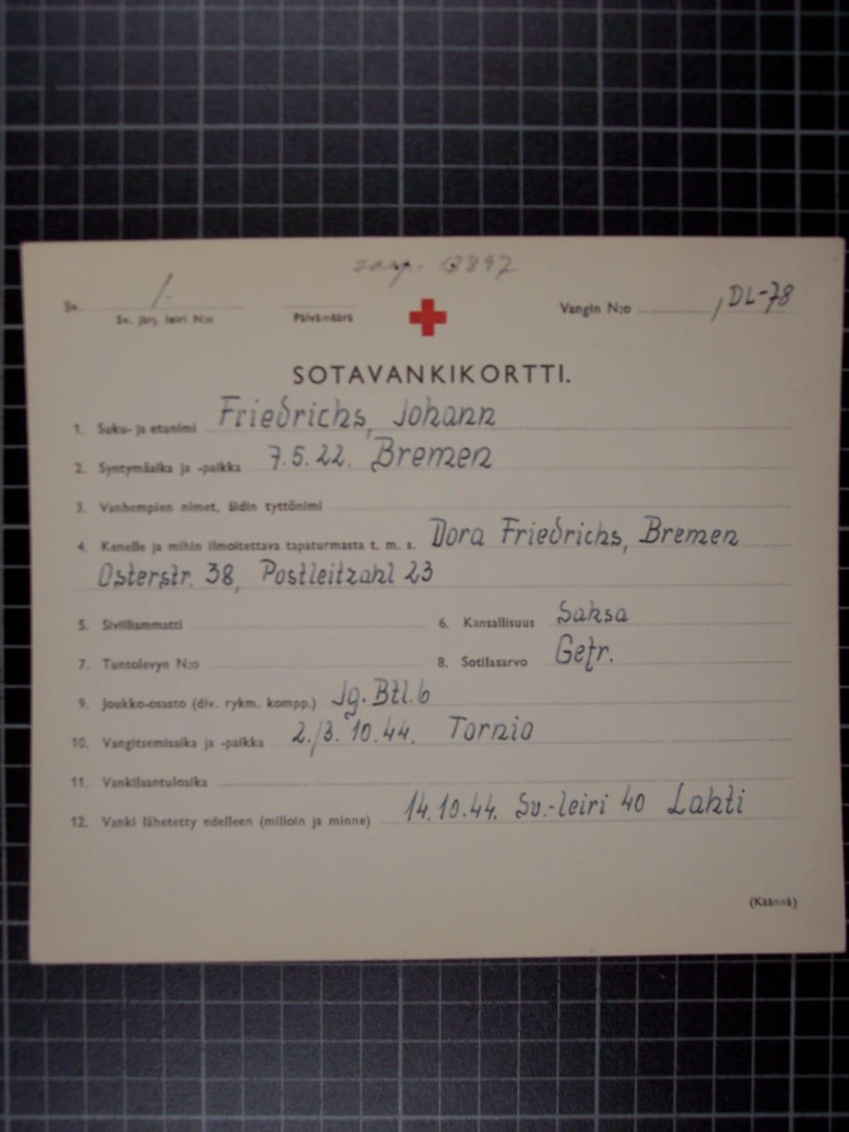 Hollantilaisen Johan Friedrichsin sotavankikortti. Täytetty 30.10.1944. Kortti on kuvitusta Paapeli 1944-kirjassa.
