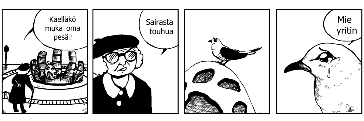 Lili Peltolan piirtämä käkiaihein sarjakuva.