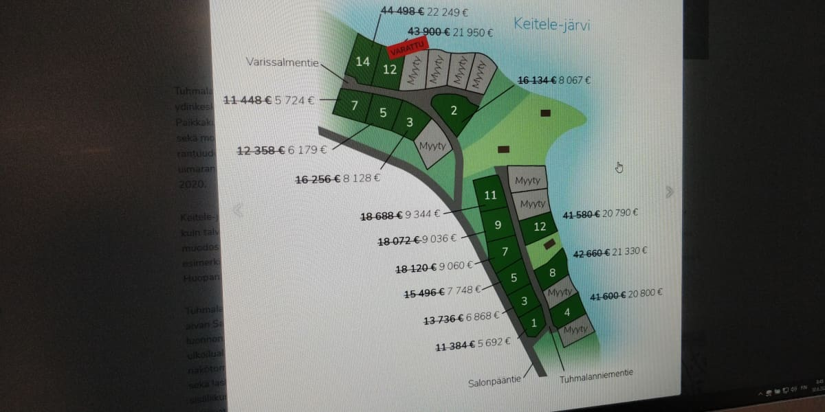 Kuvakaappaus Viitasaaren kaupungin verkkosivuilta Tuhmalanniemen tonttialueesta.