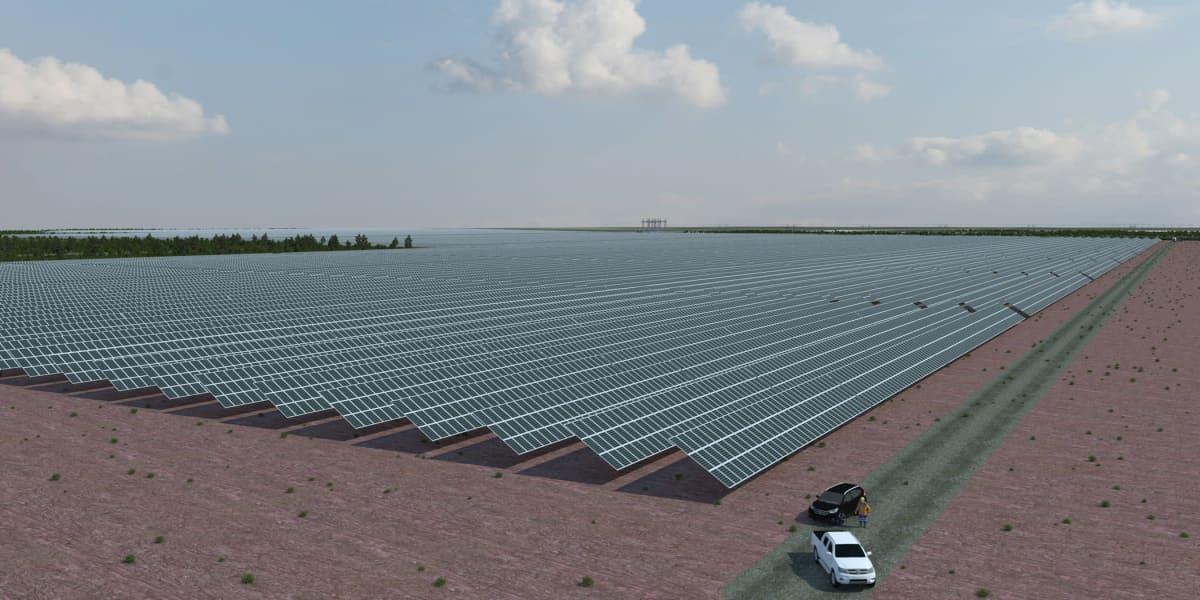 Havainnekuva turvetuotantoalueelle rakennettavasta aurinkovoimalasta.