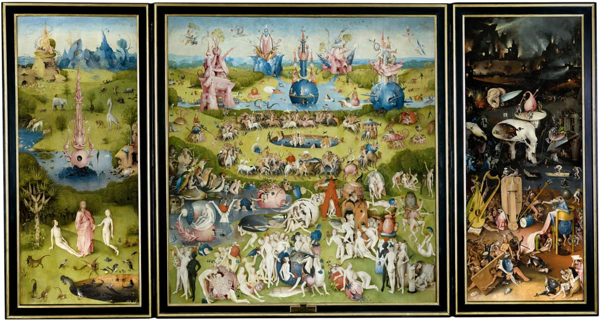 Hieronymus Boschin maalaus Maallisten ilojen puutarha (1500-1505).