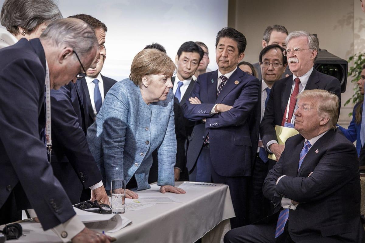 Saksa julkaisi kuvan G7-kokouksesta, jossa on G7-maiden johtajia.