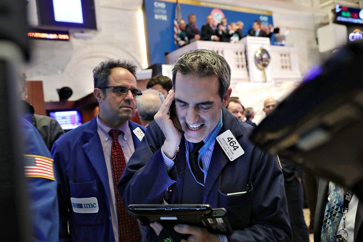 Pörssikauppiaita New Yorkin pörssissä 5. helmikuuta 2018.