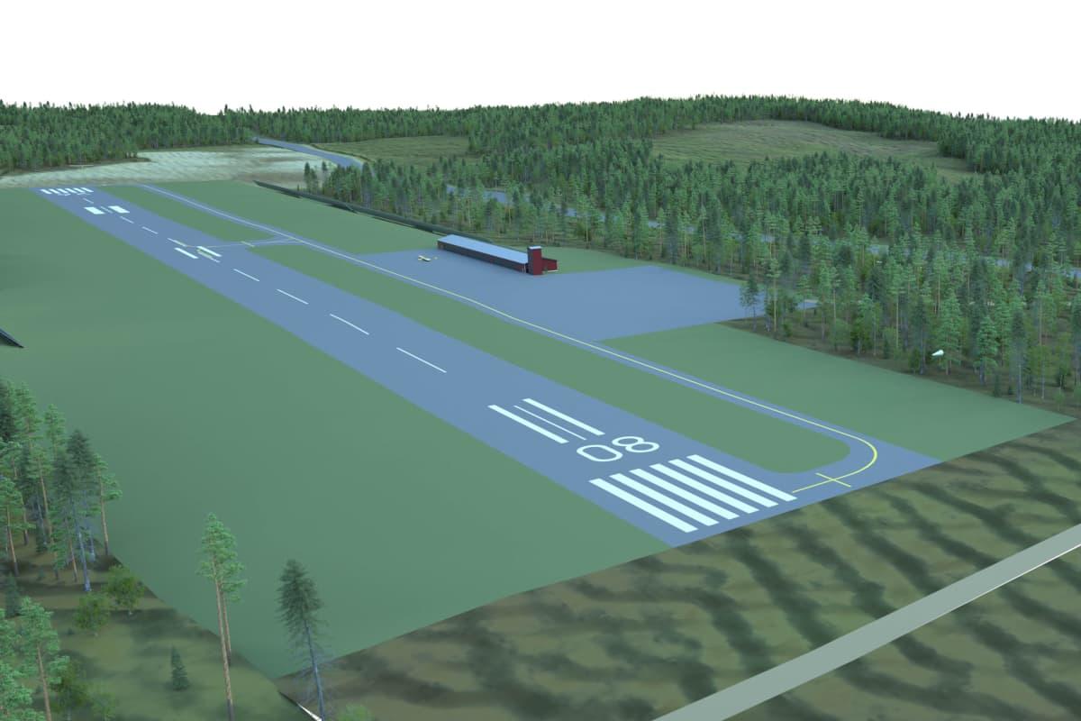 havainnekuva mäntsälään rakenteilla olevasta lentokentästä