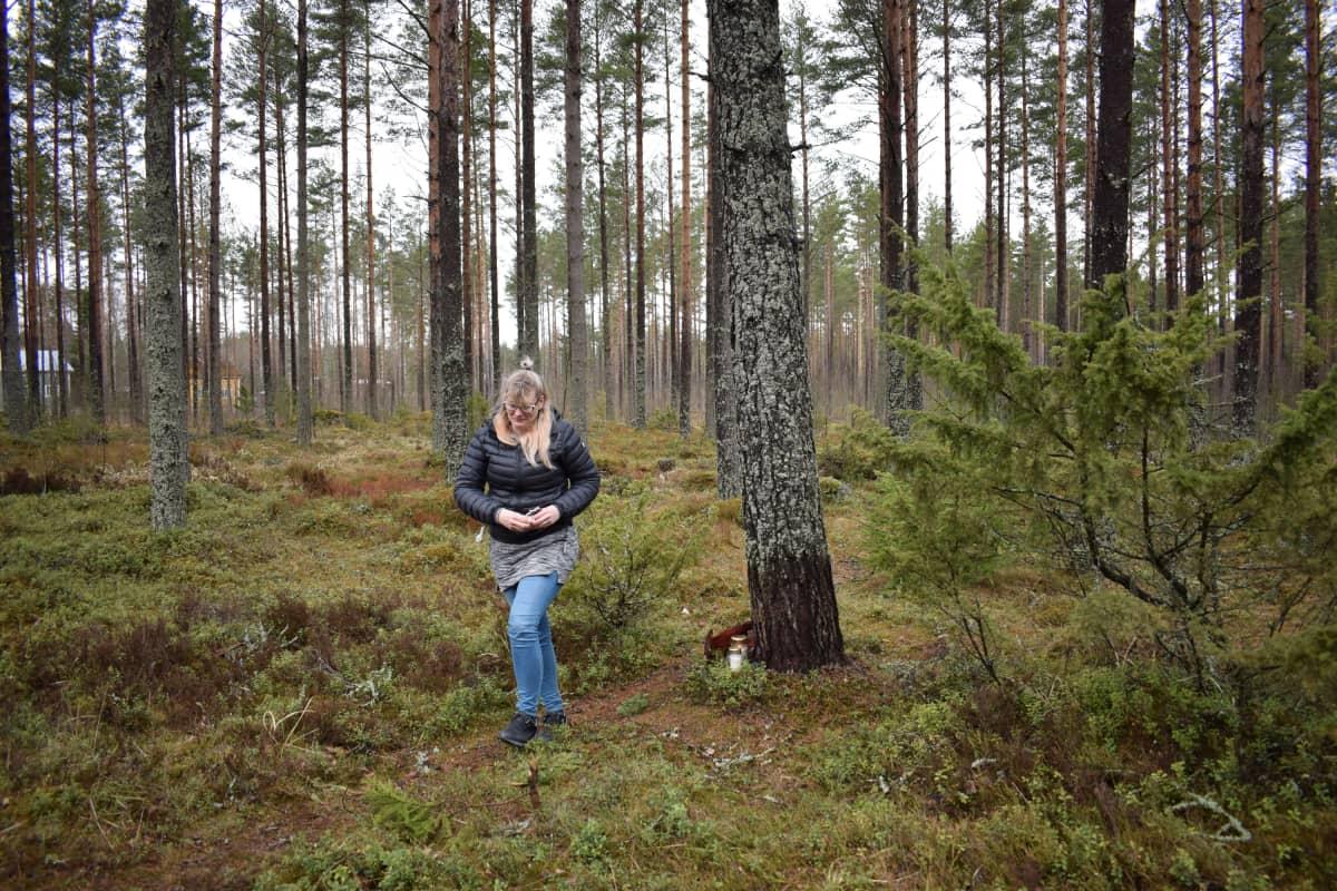 Anna-Leena Suni kävelee metsässä.
