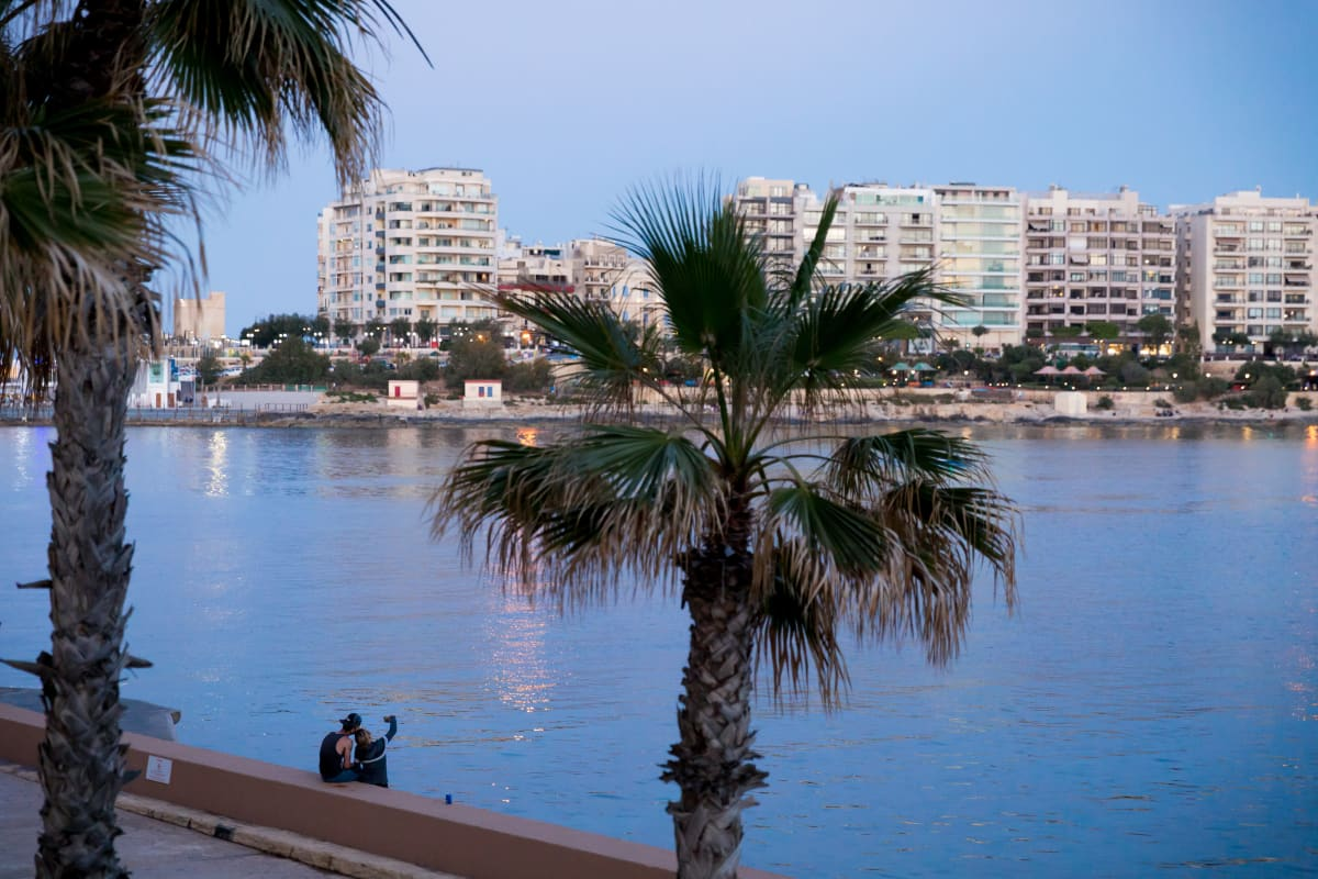 Palmuja ja ranta iltavalaistuksessa