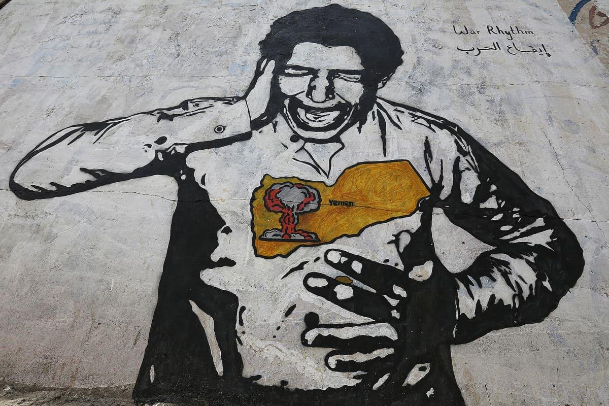 Sodan vastainen graffiti Sanaassa jemenissä.