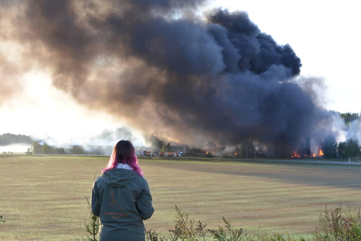 Parafiinista syntyi valtavasti savua Salon tehdaspalossa.