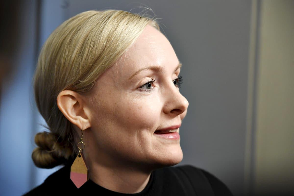 Maria Ohisalo vihreiden eduskuntaryhmän kokouksessa torstaina 25. lokakuuta 2018.