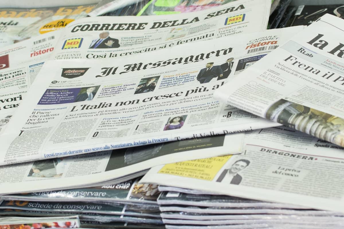 Italialaiset sanomalehdet kertovat maan talouskasvun loppuneen.