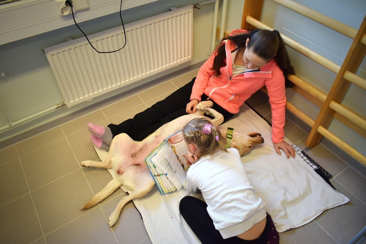 Tyttö harjoittelee lukemista Vinka-koiran kanssa.