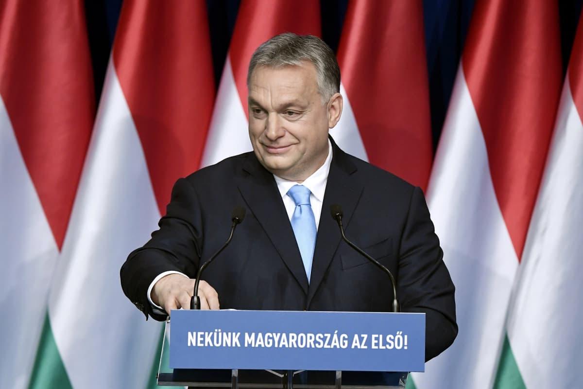 Unkarin pääministeri Viktor Orbán piti vuotuisen Unkarin tilaa koskevan puheensa Budapestissa 10. helmikuuta.