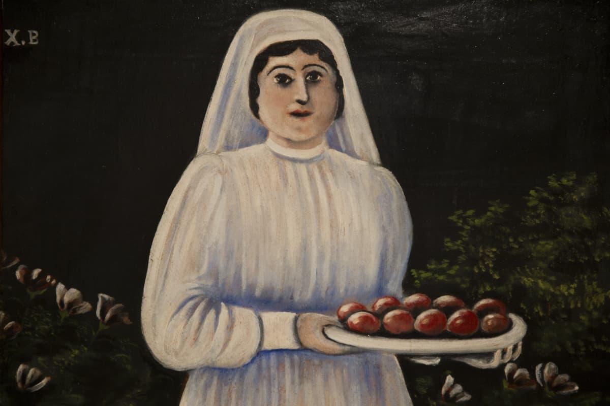 Niko Pirosmani, Nainen pääsiäismunien kanssa, Mikkelin museo