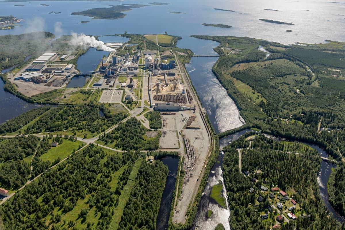 Metsä Groupin tehdasalue Kemissä.