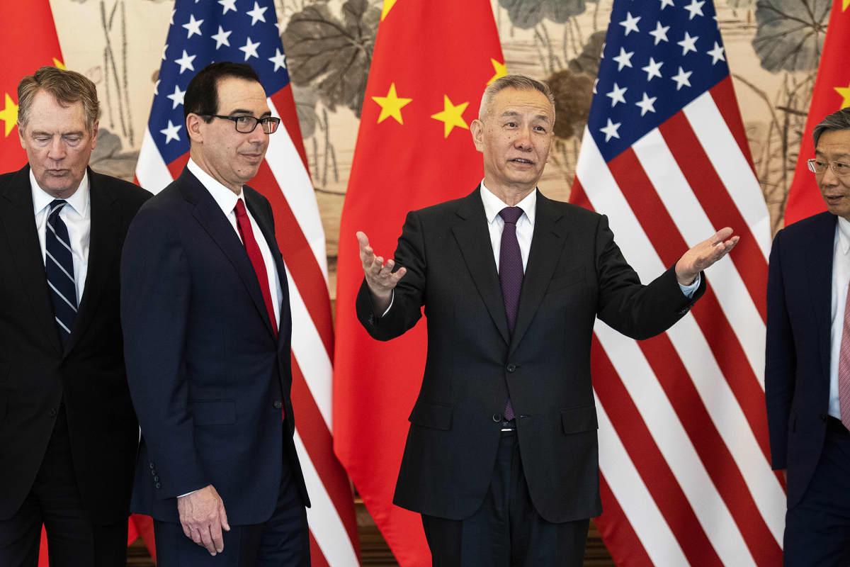Kiinan ja Yhdysvaltain pääneuvottelijat Liu He ja Steven Mnuchin