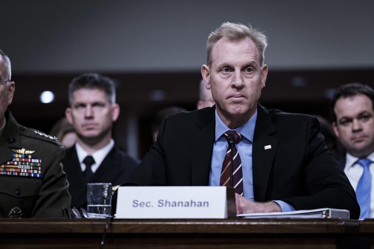 Virkaatekevä puolustusministeri Patrick Shanahan puhui senaatin valiokunnalle huhtikuussa.