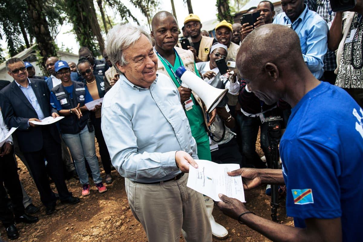 YK:n pääsihteeri Antonio Guterres vieraili ebola-alueella Kongon demokraattisessa tasavallassa syyskuussa 2019.