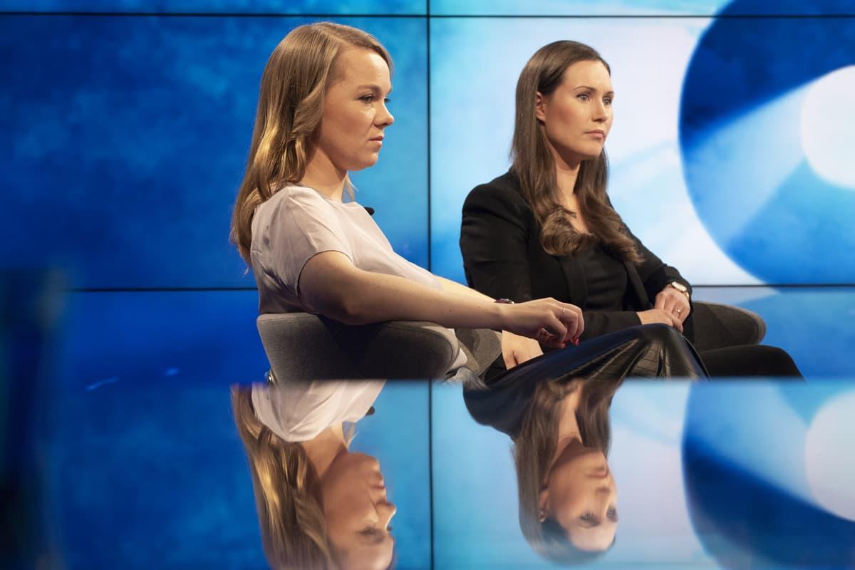 Marin ja Kulmuni tulivat tiistai-iltana Ylelle kohtaamaan toisensa studiokeskustelussa.