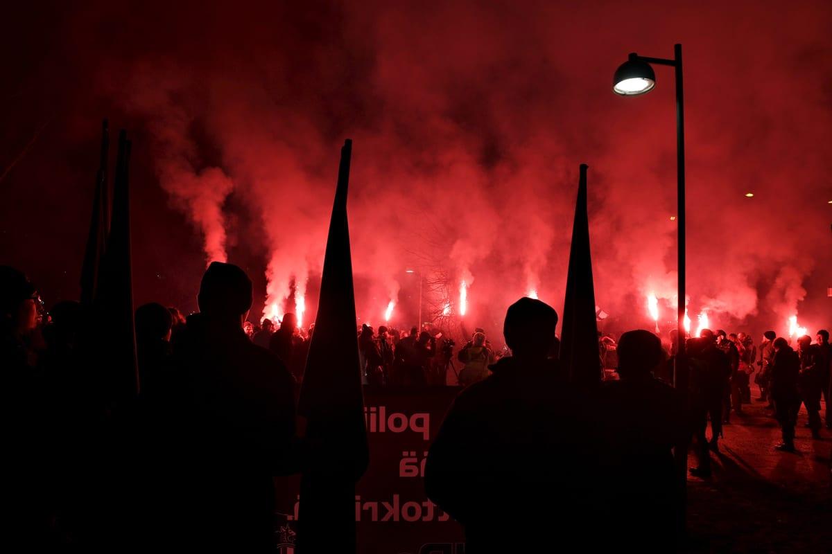 Kohti vapautta! -marssi Helsingissä itsenäisyyspäivänä 6. joulukuuta 2018.