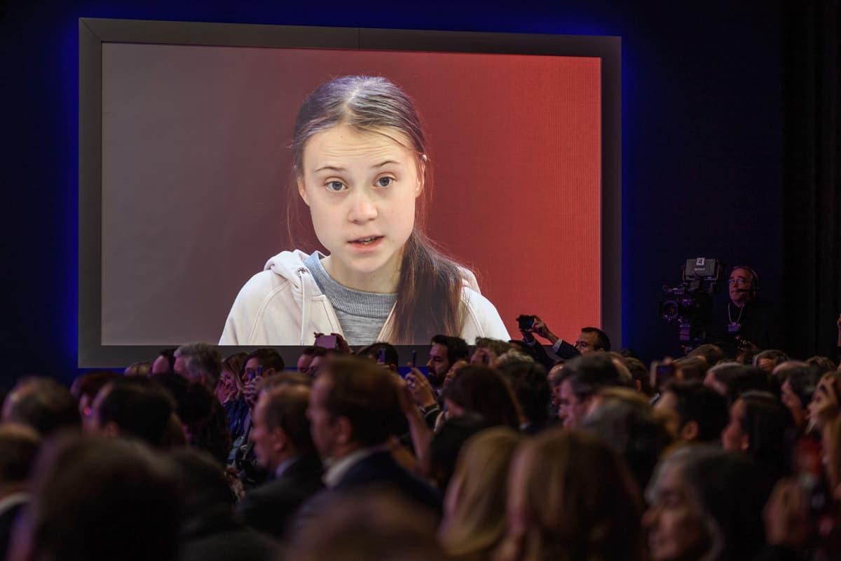 Greta Thunberg esiintymässä Kongressikeskuksessa Davosissa 21.01.2020.