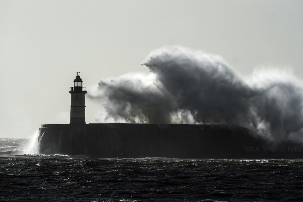 A general view showing a lighthouse in Newhaven, East Sussex, Britain, 10 February 2020. The UK is suffering inclement weather as Storm Ciara passes through the country.