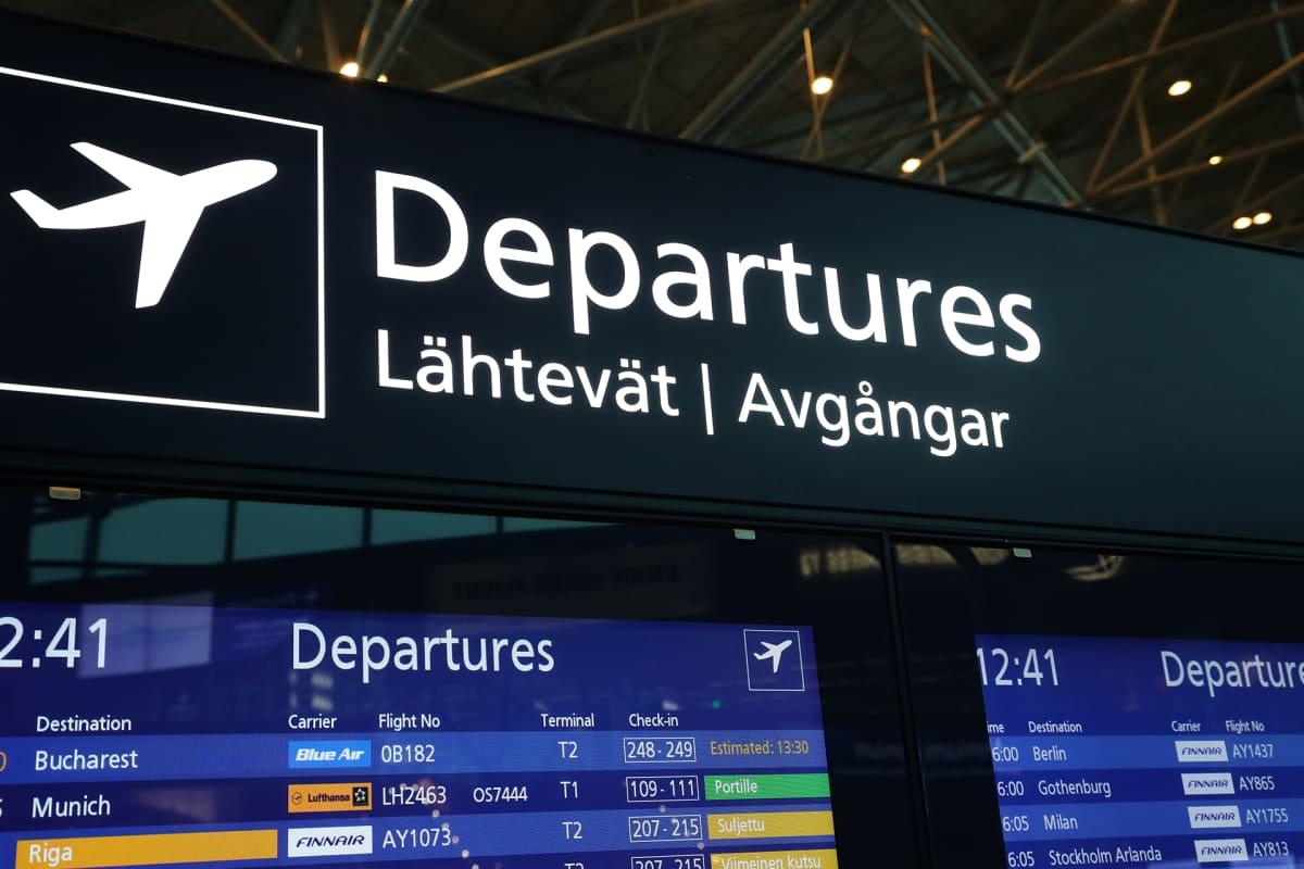 Fiavian opaste Helsinki-Vantaan lentokentällä.
