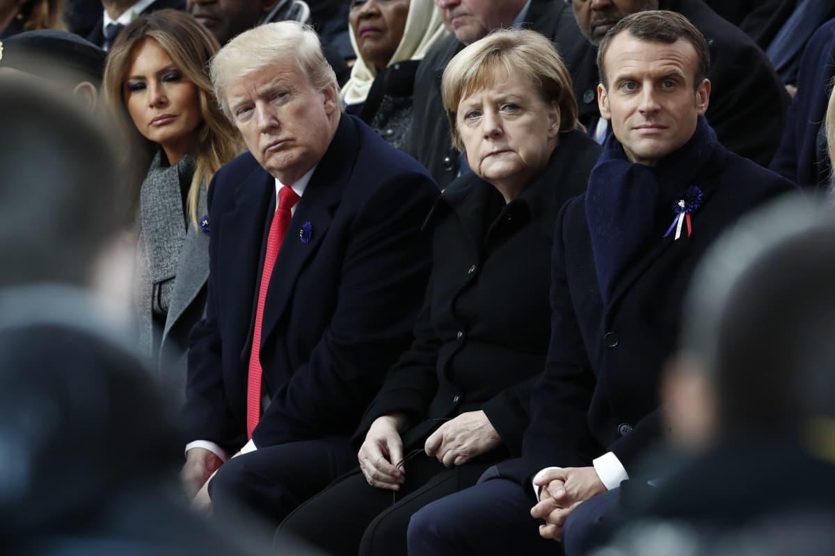 Yhdysvaltain presidenttipari Melania ja Donald Trump sekä Saksan liittokansleri Angela Merkel ja Ranskan presidentti Emmanuel Macron