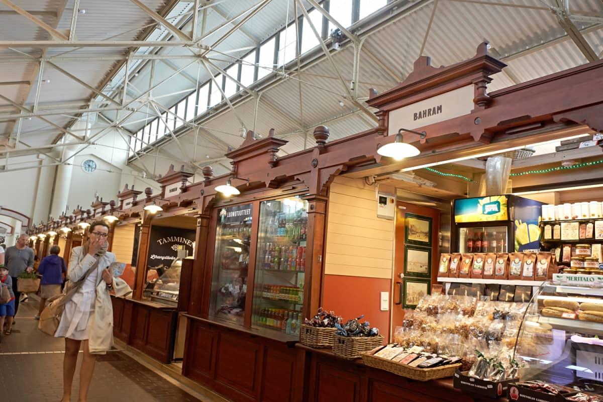 Interior of Helsinki's South Harbour market hall.