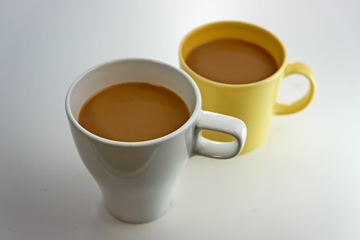 Two mugs of coffee.