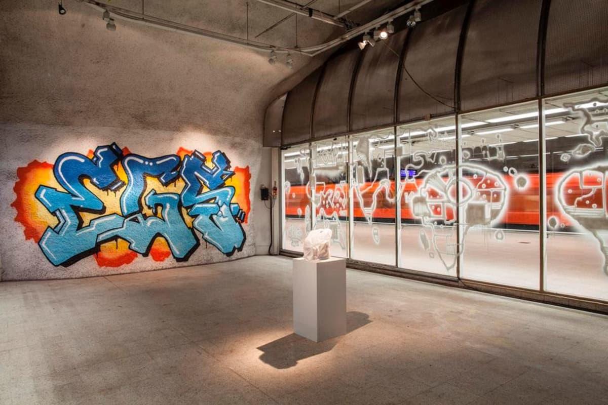 Kampin metrohallissa sijaitseva taidelahjoitus koostuu tilan seinille maalatuista graffiteista sekä muovikassista.