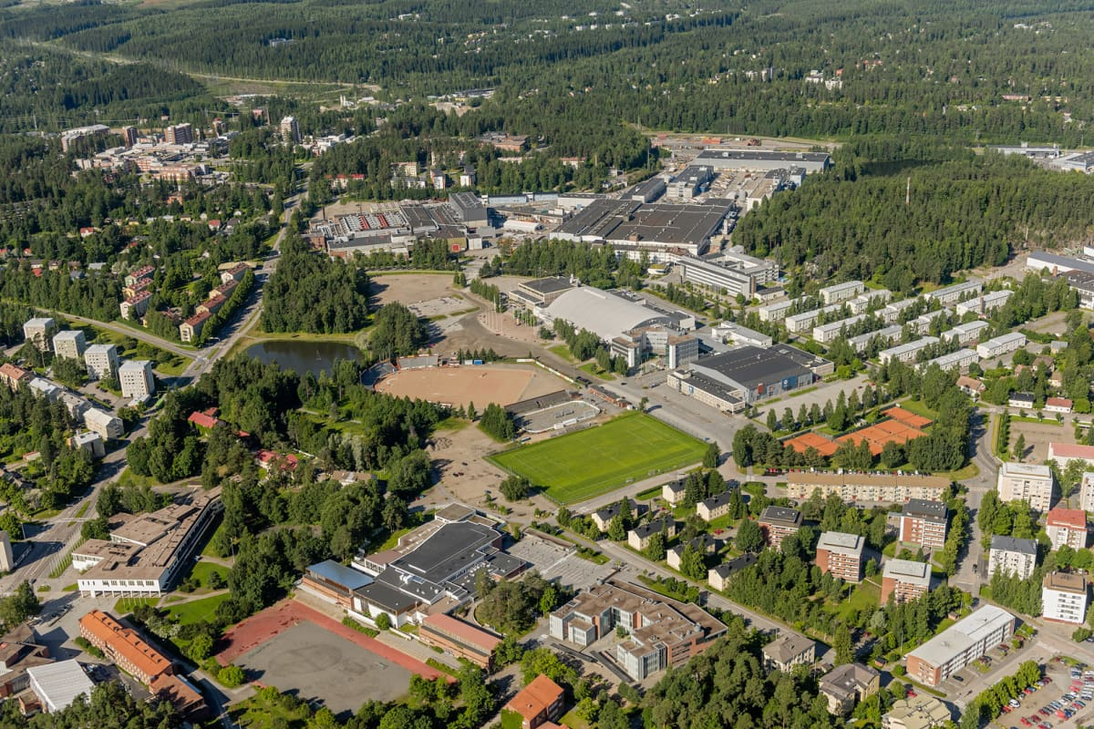 Ilmakuva Hippoksen alueesta Jyväskylässä.
