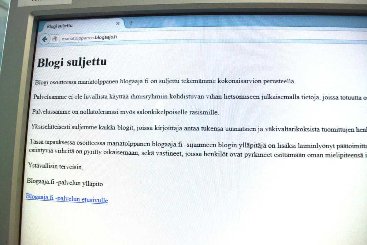 Kansanedustaja Maria Tolppasen blogi on suljettu palveluntarjoajan toimesta.