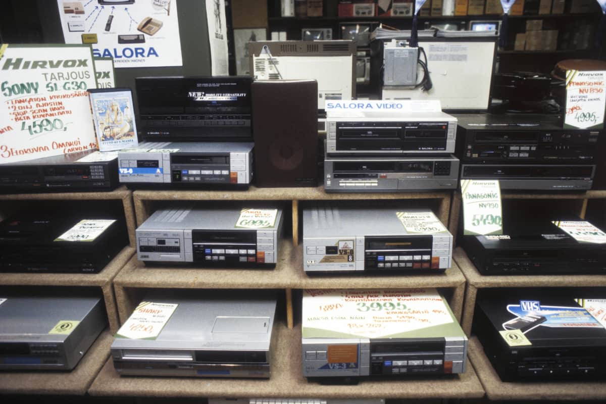 VHS-nauhureita kaupassa.